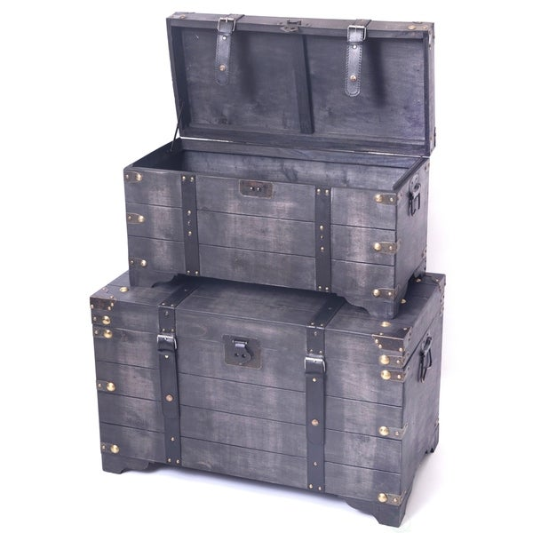 Distressed Coffee Table Sets: Shop Distressed Black Large Wooden Storage Trunk Coffee