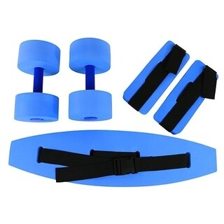 CanDo® Deluxe Aquatic Exercise Kit, (Jogger Belt, Ankle Cuffs, Hand Bars), Medium, Blue