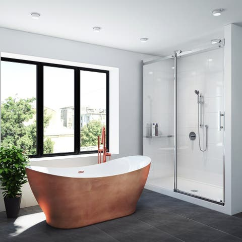 "A&E Bath and Shower Tundra 66"" Freestanding Tub No faucet With Copper Finish"