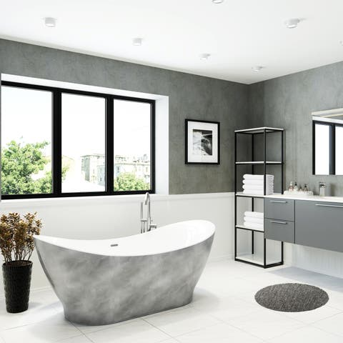 """A&E Bath and Shower Tundra 66"""" Freestanding Tub No faucet with Silver finish"""