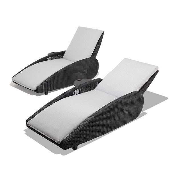 OVE Decors Sevilla Granite/Black Synthetic Wicker/Sunbrella 2-piece Patio Lounge Chair Set