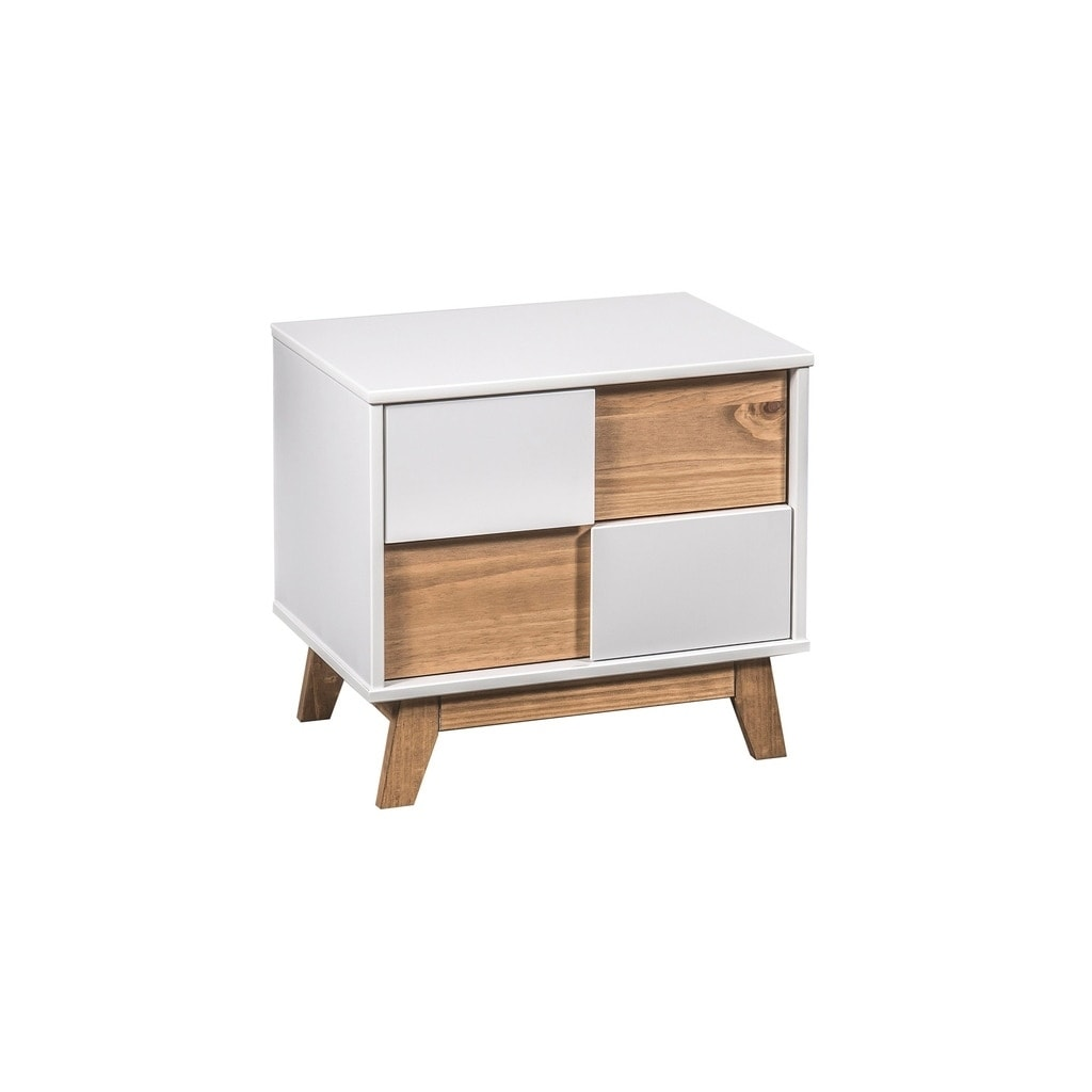 Mid Century Rustic Modern Livonia 2 Drawer Nightstand In White And Natural Wood