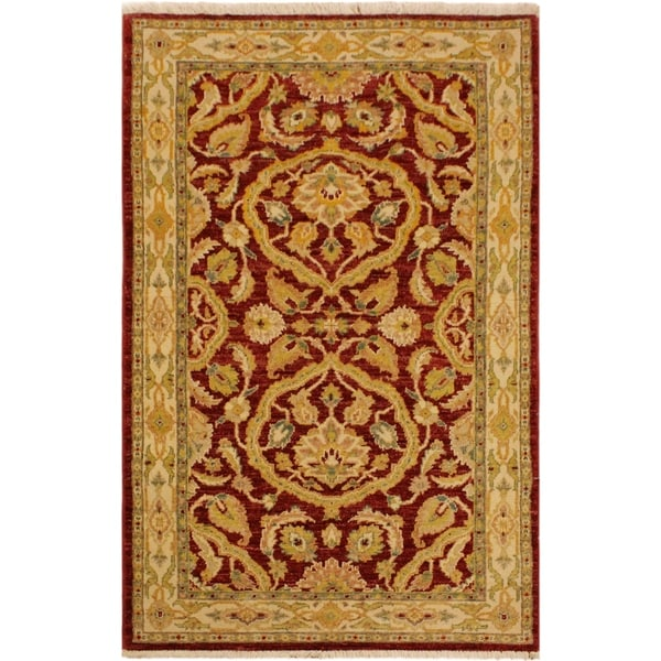 Shop Kafkaz Peshawar Byron Red Tan Wool Area Rug 3 2 X 4 11 3 Ft