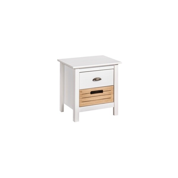 Mid-Century Modern-Rustic 2-Drawer Irving Nightstand in White and Natural Wood