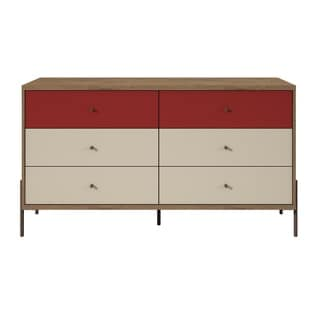Joy 59 Inch Wide Double Dresser with 6 Full Extension Drawers