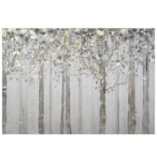 Grey/Yellow Trees Mixed Media Canvas Wall Art - Multi-color