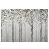 Grey/Yellow Trees Mixed Media Canvas Wall Art - Multi-color