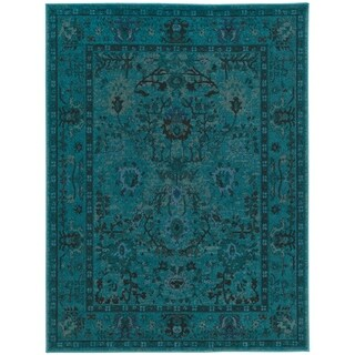 Antique Overdyed Teal Area Rug - 4' x 6'