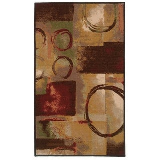 "Complex Abstract Beige/Red Area Rug - 4'4"" x 6'"