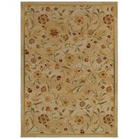 Simply Floral Beige/Green Area Rug - 6'7 x 9'