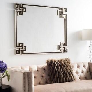 Safavieh Arcell Geo-Key Mirror - Silver/Black - 40' x 1.3' x 50'