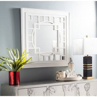 "Safavieh Rania Fenced White 36-inch Rectangle Decorative Mirror - 36"" x 1.5"" x 36"""