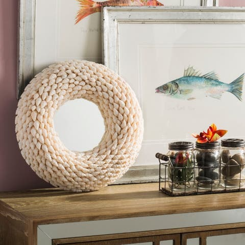 Safavieh Kesey Coastal 16-inch Round Beige Seashell Mirror - Natural - 16' x 3' x 16'