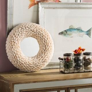 "Safavieh Kesey Coastal Beige Seashell 16-inch Round Decorative Mirror - 16"" x 3"" x 16"""