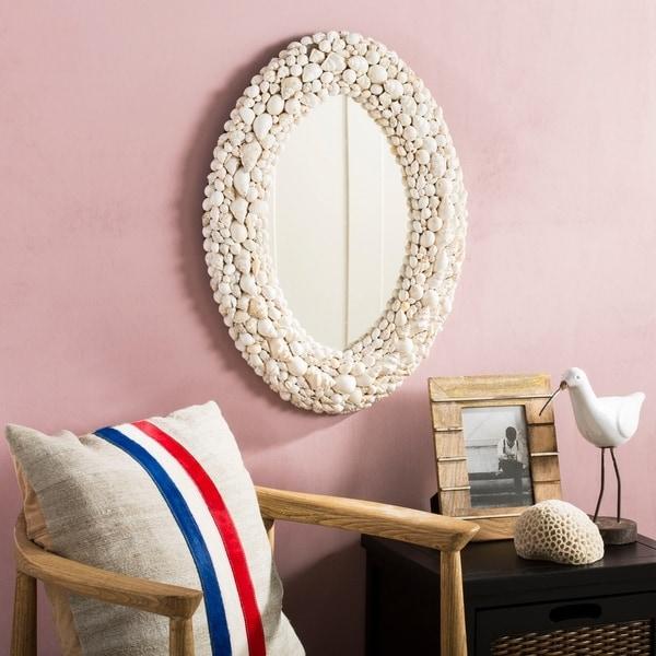 Safavieh Norris Coastal 24 X 18 Inch Oval White Seashell Mirror X27
