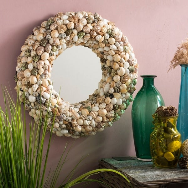 "Safavieh Cordero Coastal Seashell 20-inch Round Decorative Mirror - 20"" x 3.5"" x 20"""