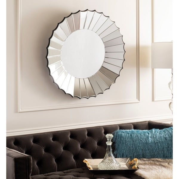 """Safavieh Denby Silver Sunburst 32-inch Round Decorative Mirror - 32.3"""" x 3.9"""" x 32.3"""""""