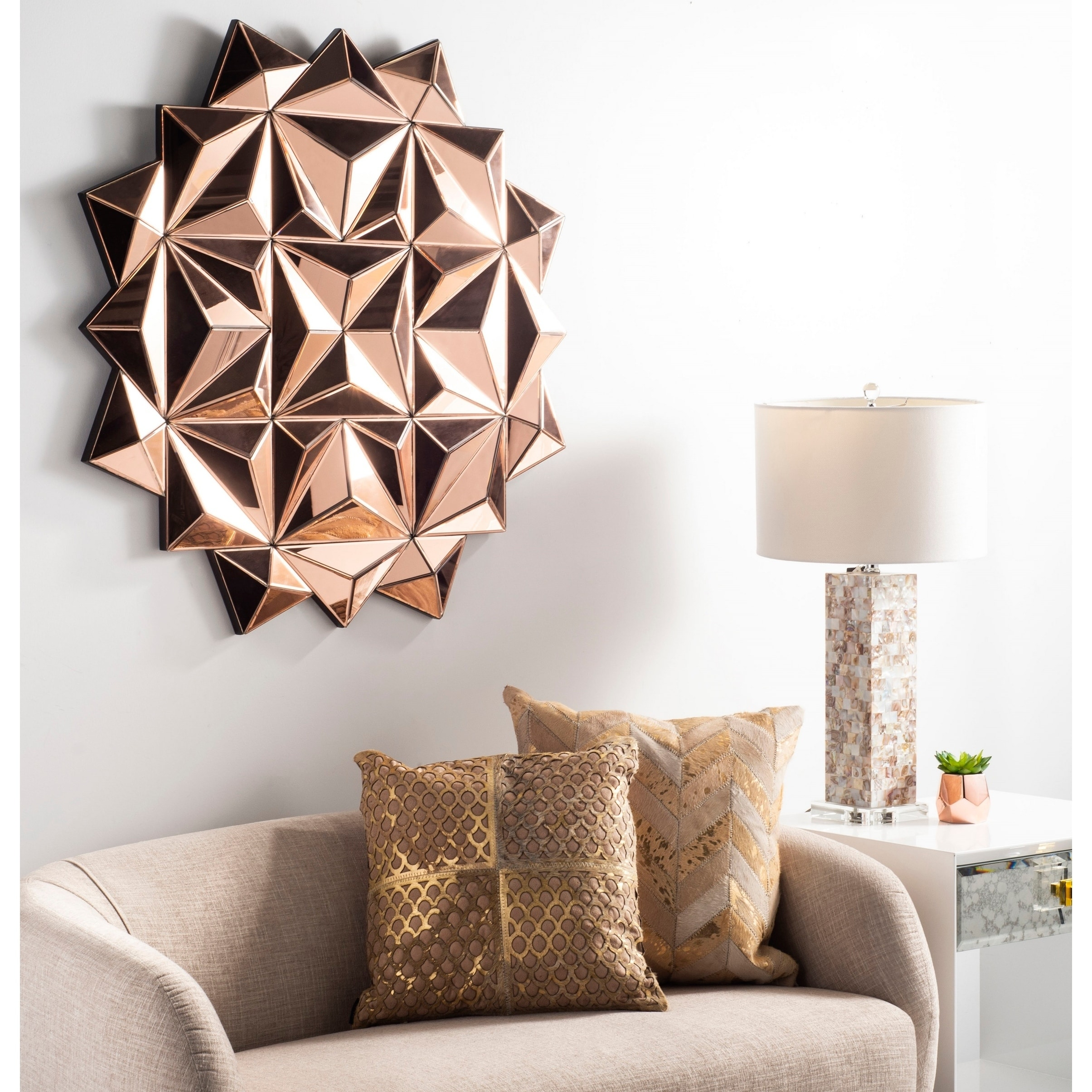 Safavieh Rosby 3 D Modern 39 Inch Copper Decorative Mirror 39 X 1 6 X 39