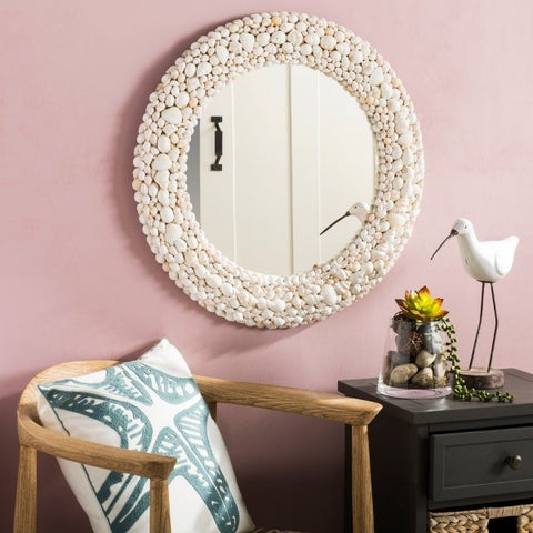 Safavieh Humphrey Coastal 24-inch Round White Seashell Mirror - 24' x 1.5' x 24'
