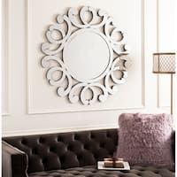 Safavieh Aldis Scroll Border 39-inch Silver Mirror - 39.4' x 0.8' x 39.4'