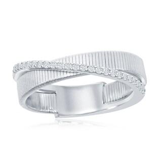 La Preciosa Sterling Silver Platinum Italian Designer Matte Band W/ CZ Criss-Cross Ring