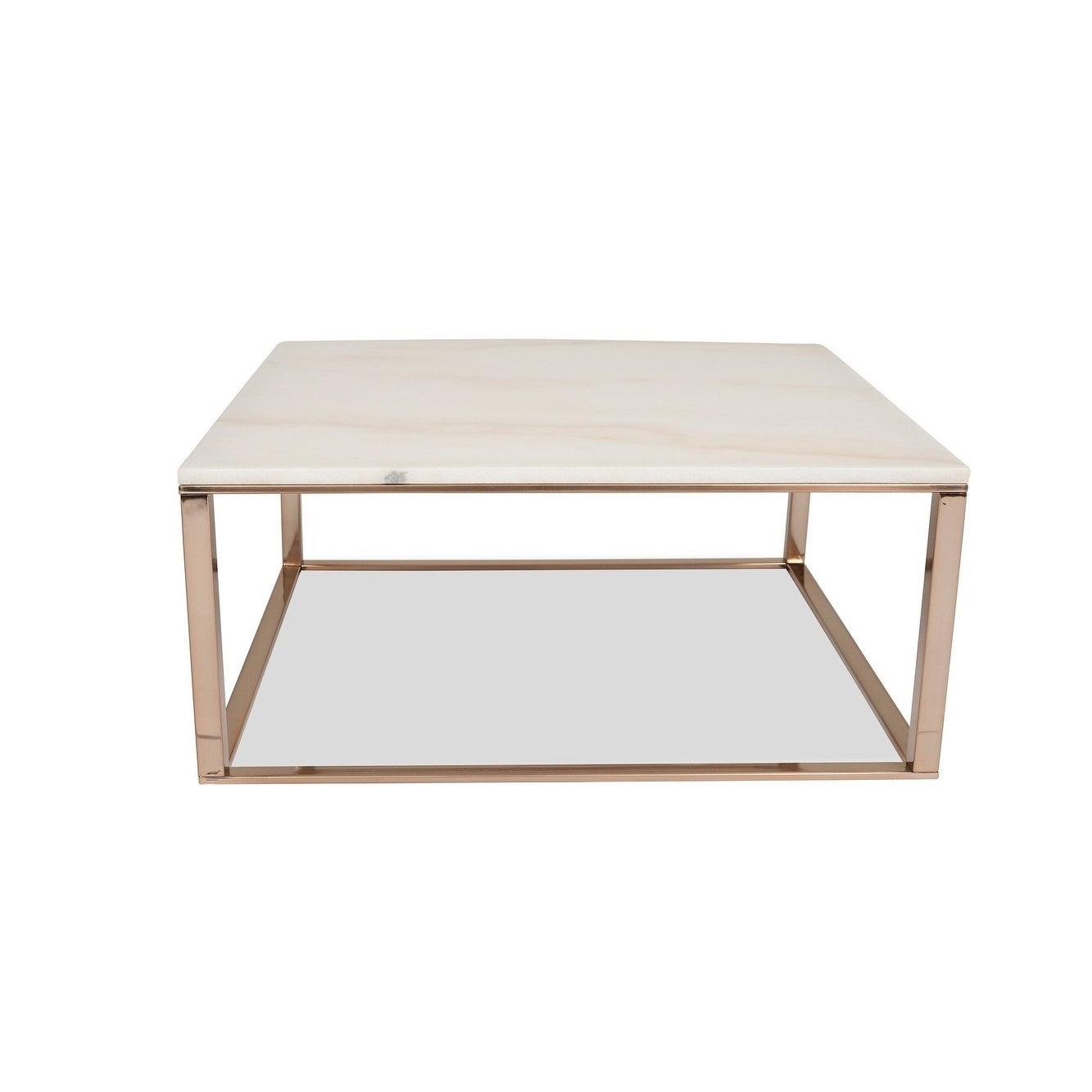 Helena White Marble Coffee Table Modern Rose Gold Coffee Tables For Living Room Square Overstock 21485038