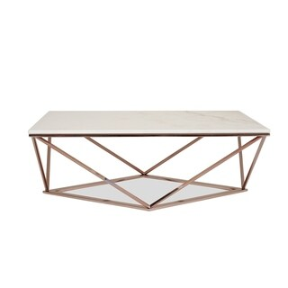 Whitney White Marble Coffee Table - Modern Gold Coffee Tables for Living Room - Rose Gold