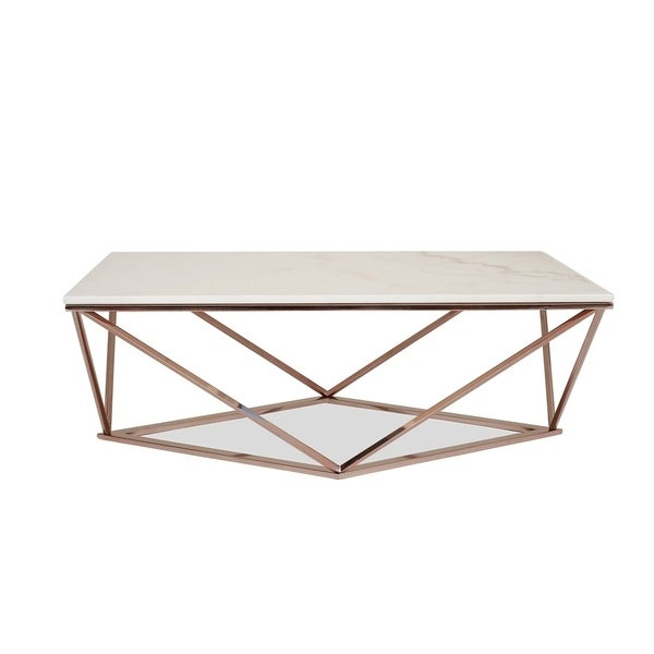 White Marble Coffee Table Set: Shop Whitney White Marble Coffee Table