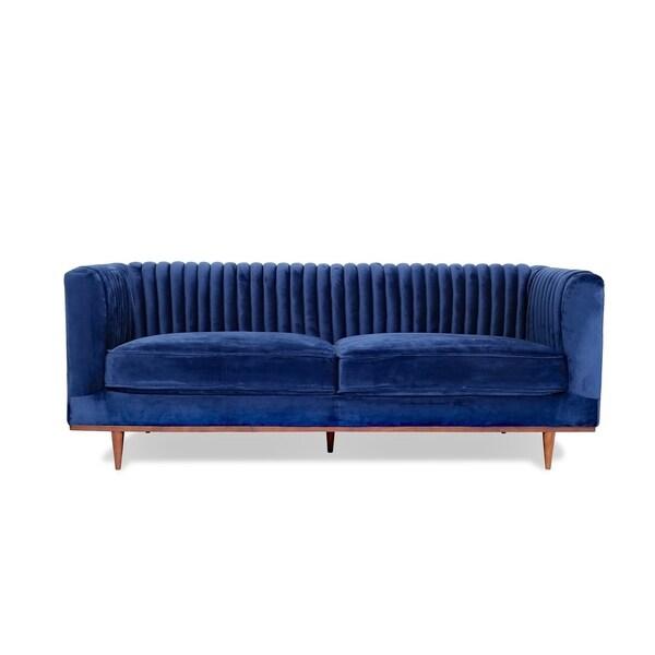Jada Velvet Sofa - Midcentury Modern Sofa for Living Room - Channel Tufted
