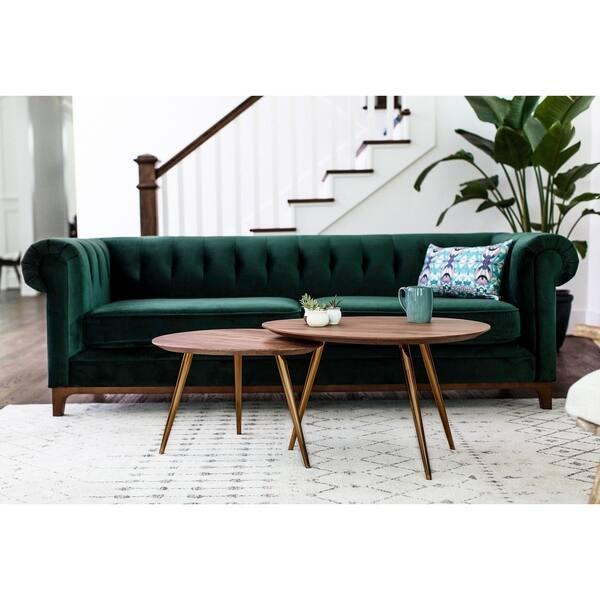 Magnificent Shop Kara Green Velvet Tufted Chesterfield Mid Century Ibusinesslaw Wood Chair Design Ideas Ibusinesslaworg