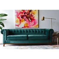 Kara Green Velvet Tufted Chesterfield Mid-century Modern Sofa