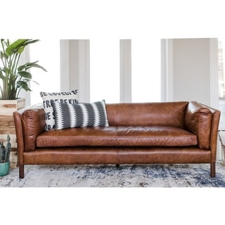 Modern Leather Sofa - Mid Century Modern Couch - Top Grain Brazilian Leather - Cognac Brown