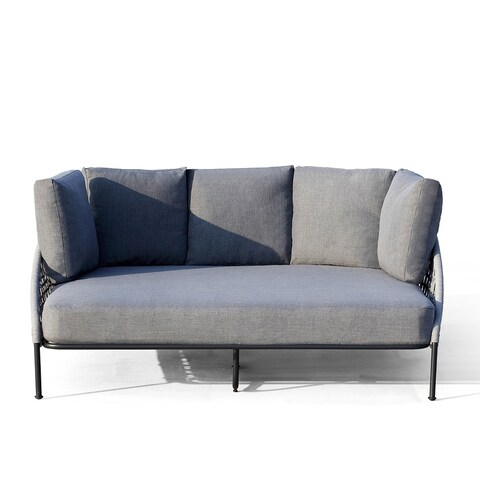 OVE Decors Indiana Grey Fabric and Steel Frame Outdoor Daybed