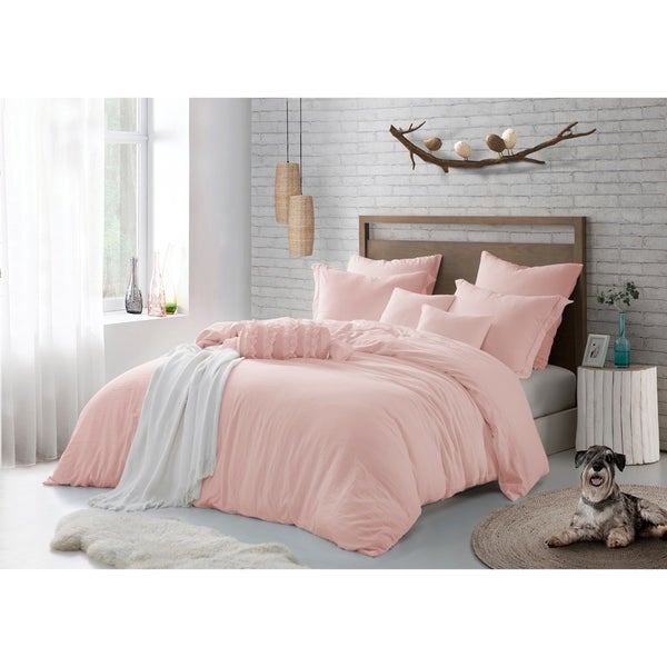 Pre-washed Premium Crinkle Microfiber Duvet Set Stylish Wrinkle Look
