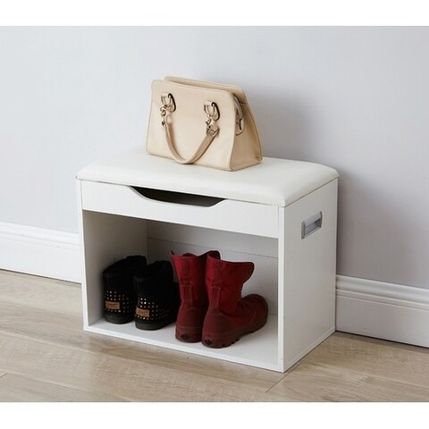 Yak About It Compact Boot Rack Bench with Top Cushion - White