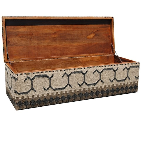 Handmade Indo Tribal Kilim Upholstered Storage Ottoman (India)