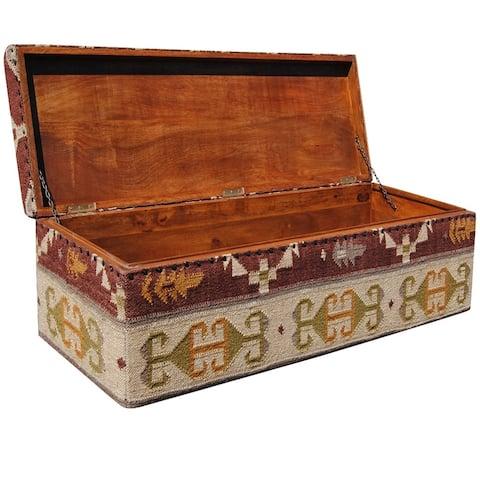 "Handmade Herat Oriental Indo Tribal Kilim Upholstered Storage Ottoman - 47"" x 16"" x 16"""