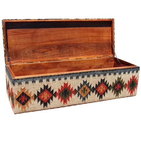 "Handmade Indo Tribal Kilim Upholstered Storage Ottoman (India) - 47"" x 16"" x 16"""