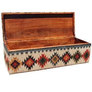 Handmade Herat Oriental Indo Tribal Kilim Upholstered Storage Ottoman