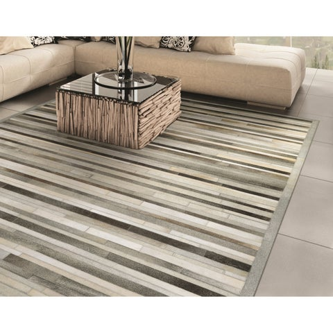 Vail Willow Ridge/ Gray-Ivory Handcrafted Cowhide Area Rug - 2' x 4'