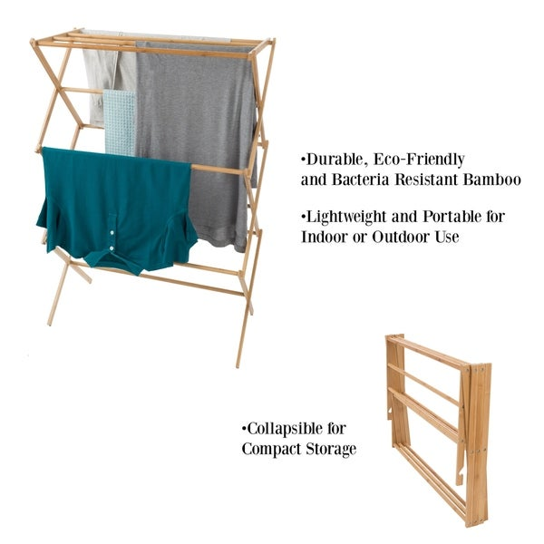 Clothes Drying Rack Accordion Lightweight Freestanding Laundry Wood New