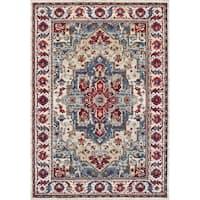 Couristan Vintage Floral Sarouk Putty-Claret Area Rug - 6'6 x 9'6