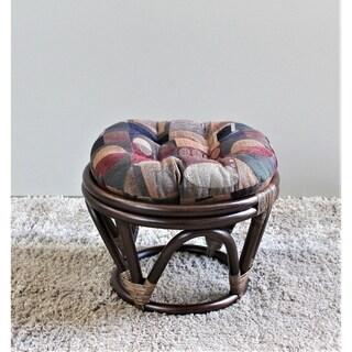 International Caravan Bali Papasan Footstool with Chenille Cushion