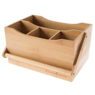 Bamboo Flatware Caddy- 4 Slot Portable Holder for Utensils Classic Cuisine