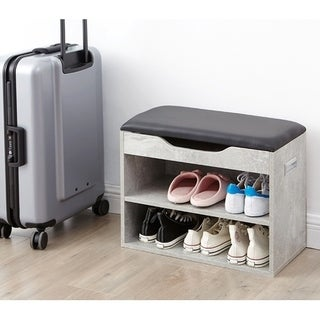 Yak About It Compact Shoe Rack Bench with Top Cushion - Marble Gray