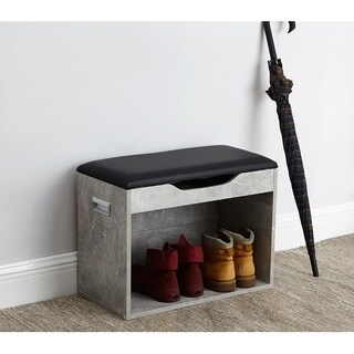 Yak About It Compact Boot Rack Bench with Top Cushion - Marble Gray