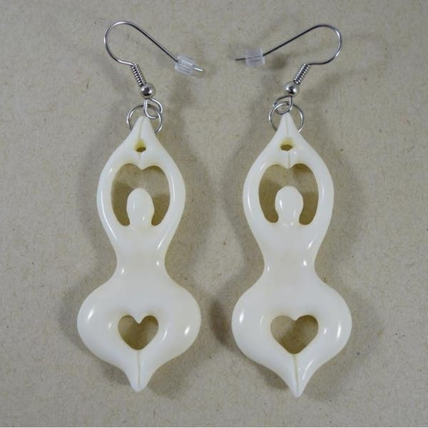 Shop Handmade Carved Bone Yoga Goddess Earrings By Spirit Indonesia Overstock 21486739