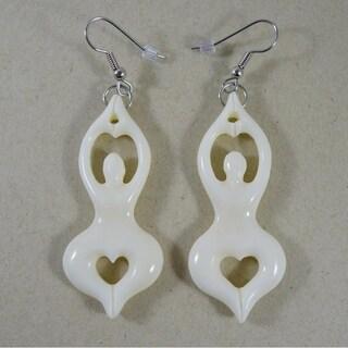 Handmade Carved Bone Yoga Goddess Earrings by Spirit Tribal Fusion