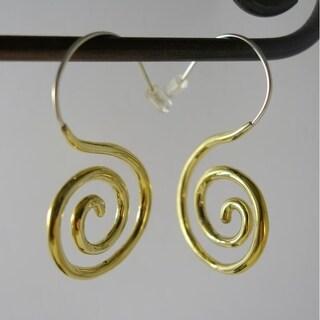 Handmade Spiral Hook Earrings by Spirit Tribal Fusion (Indonesia)