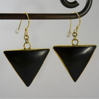 Wood and Brass Triangle Dangle Earrings by Spirit Tribal Fusion